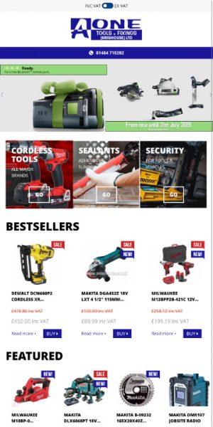 AOne Tools & Fixings responsive web design